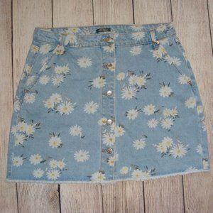 Floral High-Rise Button-Front Denim Mini Skirt 12